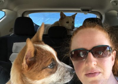 Roxie & me in the car with Momma.